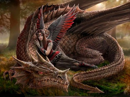 angel and dragon - fantasy, abstract, dragon, 3d, angel