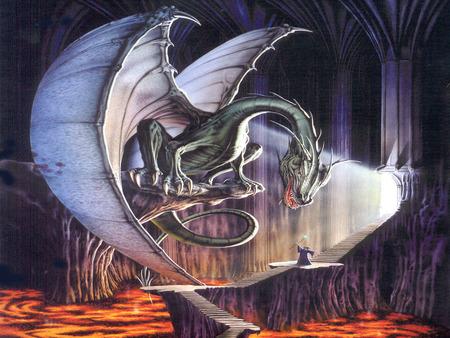 Dragon and wizard - fantasy art, magic, wizard, dragon