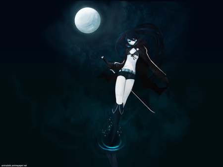 Moon Queen - game, black, moon, water, mato, kuroi, girl, darkness, anime, black rock shooter, brs, night, ova