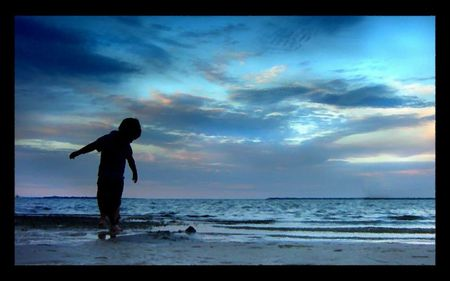 Discovery - ocean, waves, sky, silhouette, clouds, discovery, beach, boy, sand, blue
