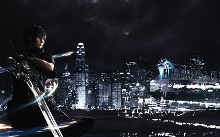 Final Fantasy Versus XIII - ffxiii versus, noctis lucis caelum, city, video game, final fantasy, sword, night