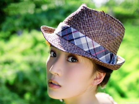 Chinese face - look, beautiful, soft, actual, in a hat, fair, girl, green, beauty, chinese