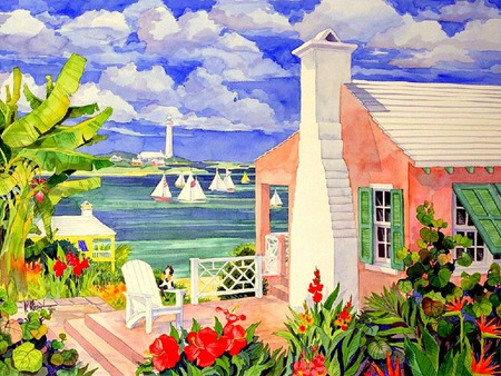 Little Pink Cottages - cottages, cottage, houses, trees, cat, clouds, lake, lighthouse, water, plants, boatschairs, flowers, deck, sailboats