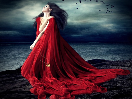 The Secret of Her Soul - ravens, night, gold, cloak, female, abstract, red, brunette, heart, sea, birds, dress, ocean, woman, beach, secret, sky, stormy