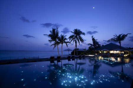 A Romantic Evening - evening, villa, ocean, romantic, palm trees, maldives, pool
