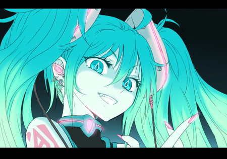 Evil Smile - ponytail, green eyes, game, hatsune miku, anime, smile, vocaloid