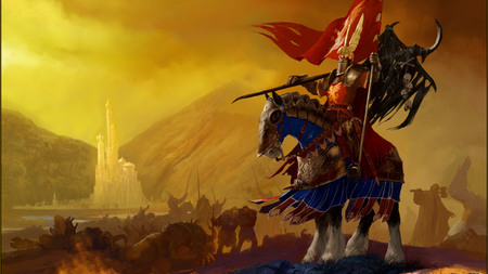 Standard Bearer - standard, horse, abstract, artwork, warriors, skulls, fantasy, armour, knight