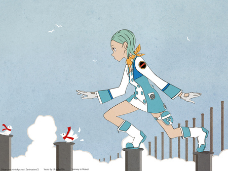 Stairway to Heaven - eureka, birds, eureka 7, girl, mecha, anime, step, heaven, stairway