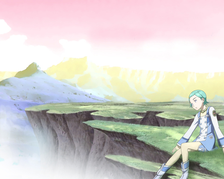 Sitting on a Cliff - sit, eureka 7, mecha, girl, eureka, anime, cliff, scenery