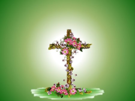 Easter cross with flowers - easter, resurrection, religion, cross, jesus, christ, flower