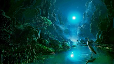NIGHT SCENE IN THE MOONLIGHT - water, bird, mountains, moonlight, trees, scenery, night