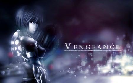 Vengeance - light, city, ghost in the shell, dark, female, ghost, vengeance