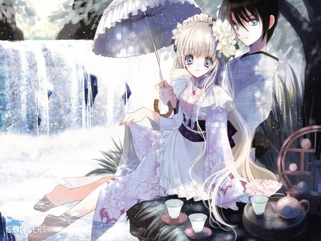Perfect Couple - drink, together, umbrella, perfect couple, female, waterfall, beautiful, male