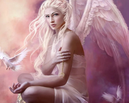 guardian angel - innocence, wings, necklace, bird, transcendence