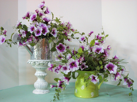Extravagance - abundance, water can, vase, beautiful, pedestal, green, purple, flowers, petals, white, extravagance
