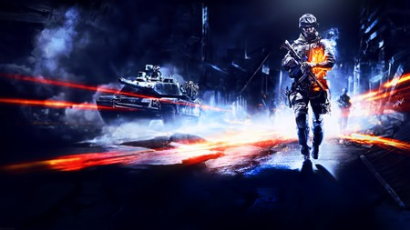 Battlefield 3 - orange, game, abrams, lights, m1, nice, sopmod, soldier, buildings, black, sky, weapons, m1a2, m1a1, cool, sidewalk, awesome, 2011, white, fall, hd, glow, mbt, firefight, guns, tank, xbox 360, contrast, m4a1, light, blue, ps3, bf3, battlefield 3, gunner, 3d, dark, rubble, pc