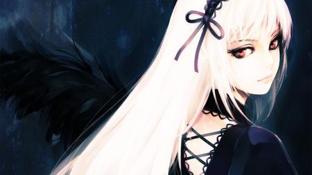 Anime vampire girl with white hair