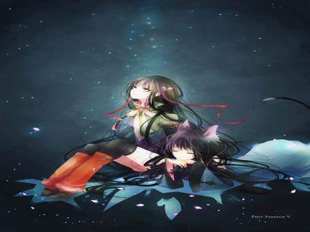 Look at star - look, neko, together, alone, fantasy, dark, pixiv fantasia, firends, two females, star, night