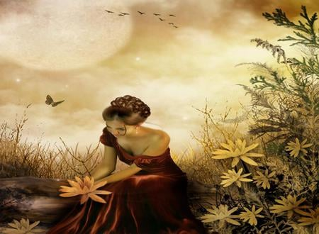 The Perfect Day - red, pretty, sun, red dress, romantic, beautiful, woman, clouds, fantasy, gold, butterfly, girl, flowers