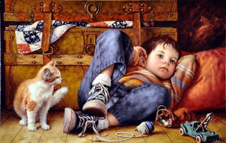 taking time out - pillow, boy, truck, trunk, cat, childhood