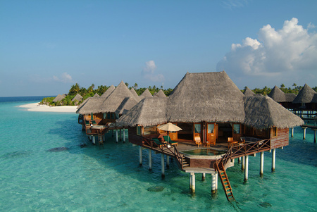 Villa Huts Oceans Nature Background Wallpapers On