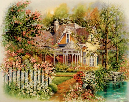 Spring Blooms - pond, house, water, flowers, gardens, picket fence, trees