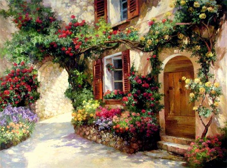 Spring Courtyard - house, courtyard, window, arch, flowers, shuters, wooden door