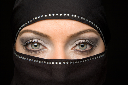 ORIENTAL BEAUTY - photo, lovely, veil, arabic, black, beautiful, woman, photography, nice, cool, girl, oriental, makeup, beauty, face, eyes