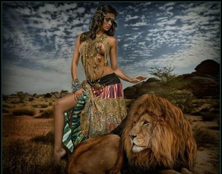 62131d3d Woman With Lion - Other & People Background Wallpapers on Desktop ...