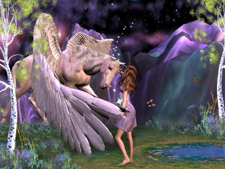 3D Colorful Pegasus - colorful, greek mythology, 3d and cg, horse, fantasy horse, stallion, fantasy, pegasus, 3d, girl, friends