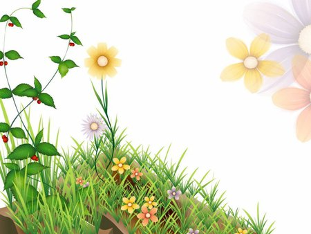 NATURE CLIP ART - yellow, flowers, gree, grass