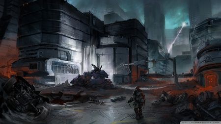 Danger Zone - gun, fighting, hd, hell, video game, halo, dark, concept art, adventure, night, weapon, artwork, soldier