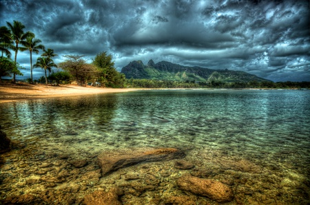 Beach-HDR - photography, ocean, other, dark clouds, hdr, sea, ridges, palms, rocks, sky, water, nice, sand, mountains, nature, trees, cool, reflection, beautiful, lovely, clouds, stones, pretty, house, beach, pure water, shore