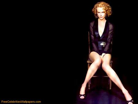 Nicole Kidman - curly, female, actress, nice shoes, sexy black dress, red hair, blue eyes, long legs
