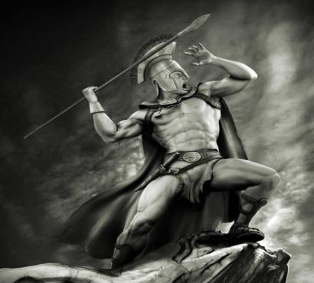 Spartan Warrior - fantasy, spear, abstract, helmet, knife, wallpaper, warrior