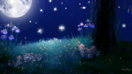 Twilight of the Moon - flowers, firefox persona, grass, light, sky, glow, bright, dragonflies, stars, full moon