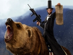 ABRAHAM LINCON RIDING A GRIZZLY BEAR