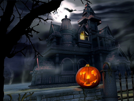 Halloween - colorful, castle, light, halloween, colors, dark, eautiful, beautiful, pumpkin, darkness, house, night, black