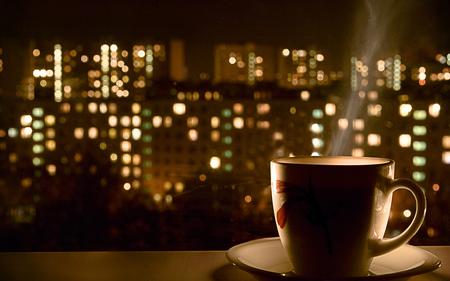 Relaxing evening - evening, coffee, cup, lights, macro