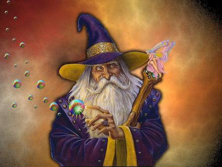 WIZARD AND A FAIRY - old, wizard, fairy, man