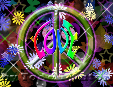 Welcome back to the 60's - flower power, peace sign, 60s, love