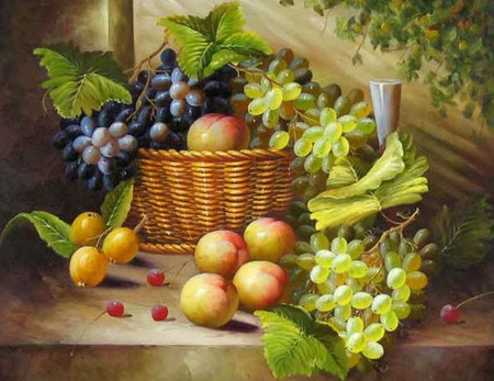 fruitful - fruit, table, grapes, basket, cherries, vines