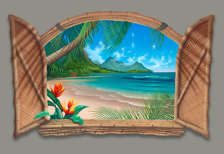 Beautiful day - windows, beach, strand, ocean, paradies, palms