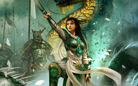 Leader of War - hd, cg, dragon of warrior, video game, monster, fighter, warrior, might and magic, woman, war, heroes, battle, female, dragon, armor, knight, sword, fantasy, weapon, scarf, cherry blosssom, might and magic heroes