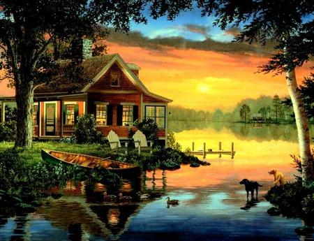 Sundown - sunset, cat, lake, water, trees, fishing pole, boat, canoe, cabin, dogs, dock, tackle, ducks, chairs