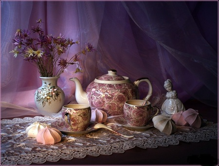 Tea and dessert - flowers, porceline, silk, veil, pink, kettle, vase, dessert, cup, saucer, teapot, girl, pretty, lace, sweets, spoon