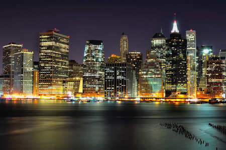 Night in Manhattan - architecture, nyc, new york, background, downtown, lights, modern, city, skyline, night, amazing, brooklyn, buildings, town, place, sky, manhattan, east river, water, promenade, popular, landscape