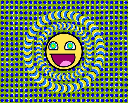 optical illusion - trippy, optical illusion, green, moving, yellow, teasers, smile, lines