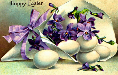 Happy Easter To All On DN! - wrapping paper, holiday, ribbon, eggs, flowers, violets, happy easter, easter