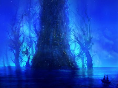 Magic Tree - water, night, blue, abstract, lights, magic, fantasy, tree